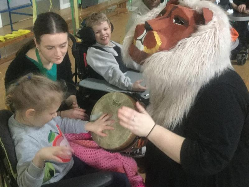 Playing the lion's drum in 'Stealing the Drum'